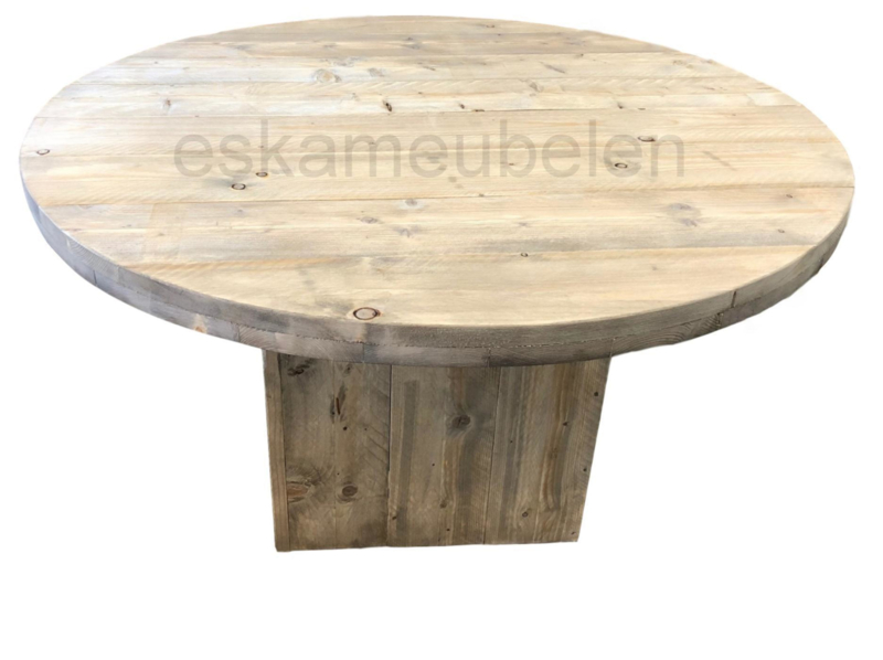 Ronde Steigerhouten Tafel.Ronde Steigerhouten Tafel Met Blokpoot Eettafels Eska