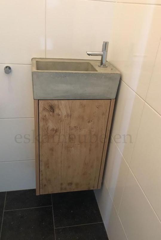Toiletmeubel Livius Licht Gebrand Eiken Badkamermeubelen