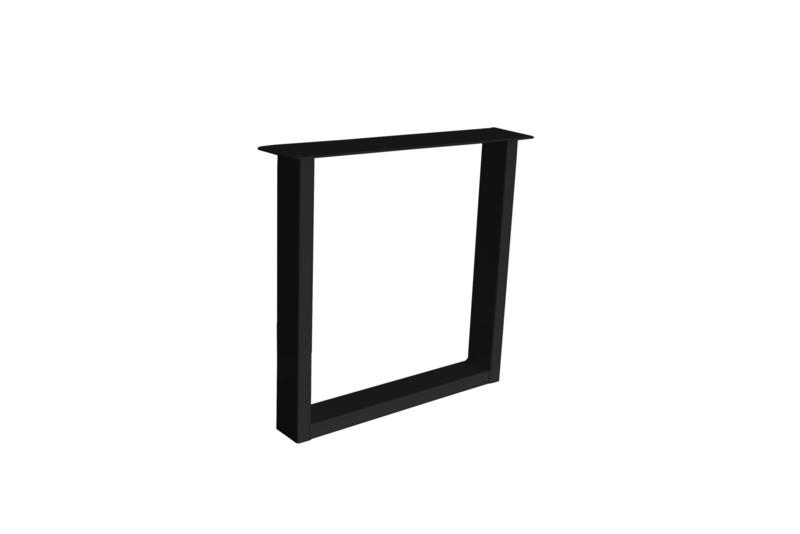 Stalen U poot / onderstel koker 10x4 cm, set van 2, incl. coating