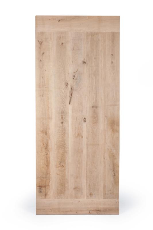 Massief recht eiken tafelblad met kopbalk, geborsteld