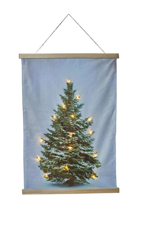 Kerstboom op doek met LED lampjes 52 x 70 cm