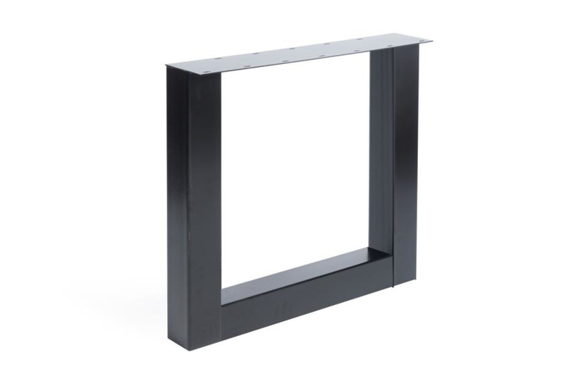 Stalen U poot / onderstel koker 10x10 cm, set van 2, incl. coating
