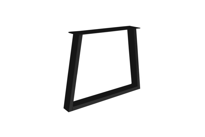 Stalen Trapeze poot / onderstel koker 10x4 cm, set van 2, incl. coating