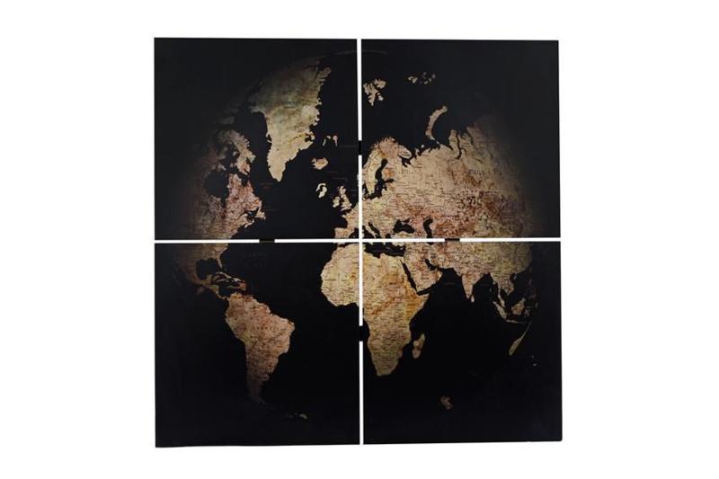 Wandkaart 4-delig 'Globe'