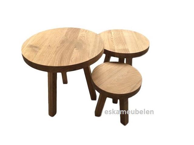 Set van 3 eikenhouten salon/bijzettafeltjes