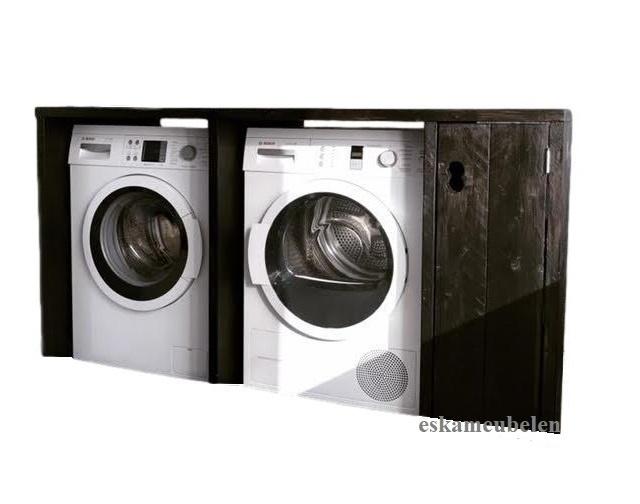Wasmachine ombouw tweevoudig met plankjes en deurtje