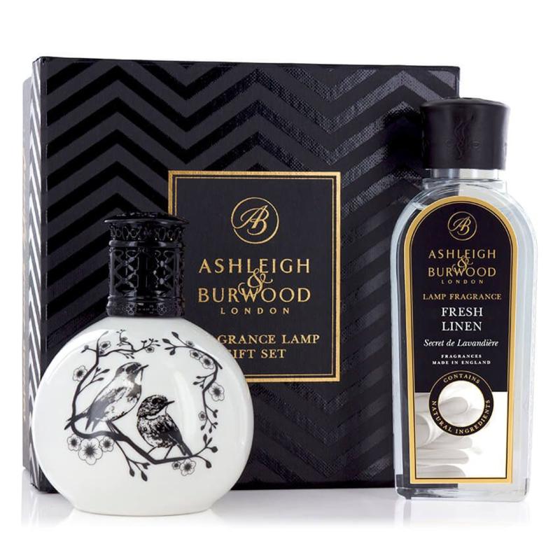 Ashleigh & Burwood Two Little Birds geurlamp + 250ml Fresh Linen Oil