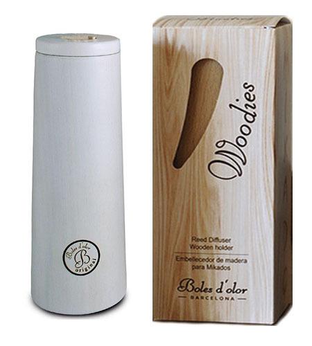 Boles d'olor Mikado Woodies Wit geurstokjeshouder