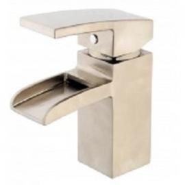 Rombo waterval wastafelkraan inclusief clickwaste geborsteld staal