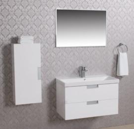 Wiesbaden 2 meubel 80 + keramische wastafel + spiegel + kast wit