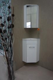 Wiesbaden Lena hoek-fonteinkast met fontein en spiegelkast 500x850x250 wit
