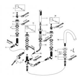 Caral 5-gats badrandcombinatie chroom