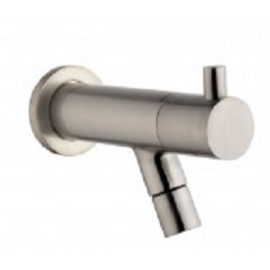 """Amador KIWA Toiletkraan muurbevestiging 1/2"""" geborsteld staal"""