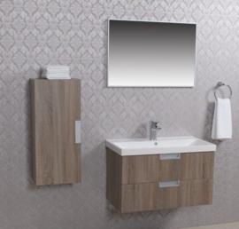 Wiesbaden 2 meubel 80 + keramische wastafel + spiegel + kast eiken