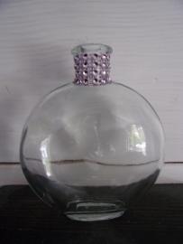 Flesje Ovaal glas met Strass Roze