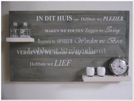 Nieuw!! Steigerhouten wandbord  110(b) x 66(h) cm met lijst en tekst In dit Huis