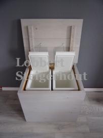 Dubbele Steigerhouten Afvalbak, 2x 28 liter