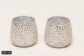 Sfeerlicht glas Ribbel Zilver