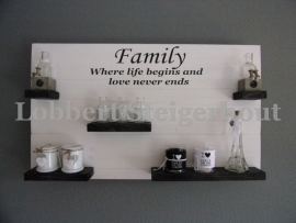 Steigerhouten wandbord 100 x 60 cm, 2 kleuren Family where life begins and love never ends