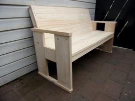 Steigerhouten Loungebank met hogere rug en langere zitting