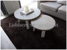 Nieuw!! 2 Leuke Ronde Steigerhouten Salontafels als set. Diameter 60 en 80 cm, 4 poot