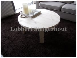 Nieuw!! Ronde Steigerhouten Salontafel, Diameter 80 cm en 40 cm Hoog, 4 poot