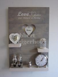 Nieuwe Wandbord Love makes our house a home 80x50 cm 2 kleuren