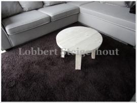 Nieuw!! Ronde Steigerhouten Salontafel, diameter 60 cm en 40 cm hoog, 4 poot