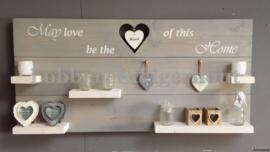 Nieuw! Steigerhouten Wandbord, May love be the heart of this Home, 125 x 60 cm, met hangend hart en 2 kleuren beits