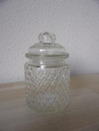 Leuk glazen voorraad/snoep potje met deksel recht