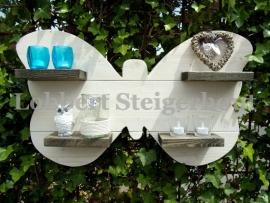 Steigerhouten wanddecoratiebord vlinder