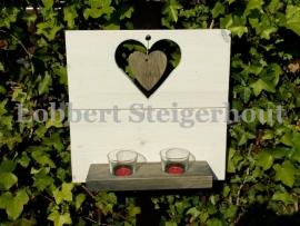 Steigerhouten wandbord met hart en windlichtjes