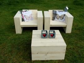 Steigerhouten Loungestoelen set met hocker