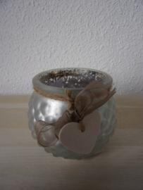 Leuk sfeerlicht grijs/zilver met bruin touw/lint en hartje