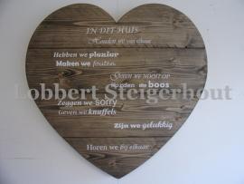 Steigerhouten wandbord hart, In Dit Huis