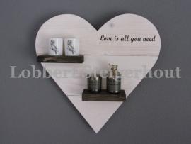 Steigerhouten hangend hart 60 x 60 cm, 2 kleuren beits en tekst