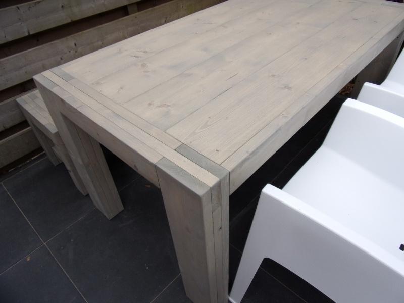 Steigerhouten Design tafel met design bankje