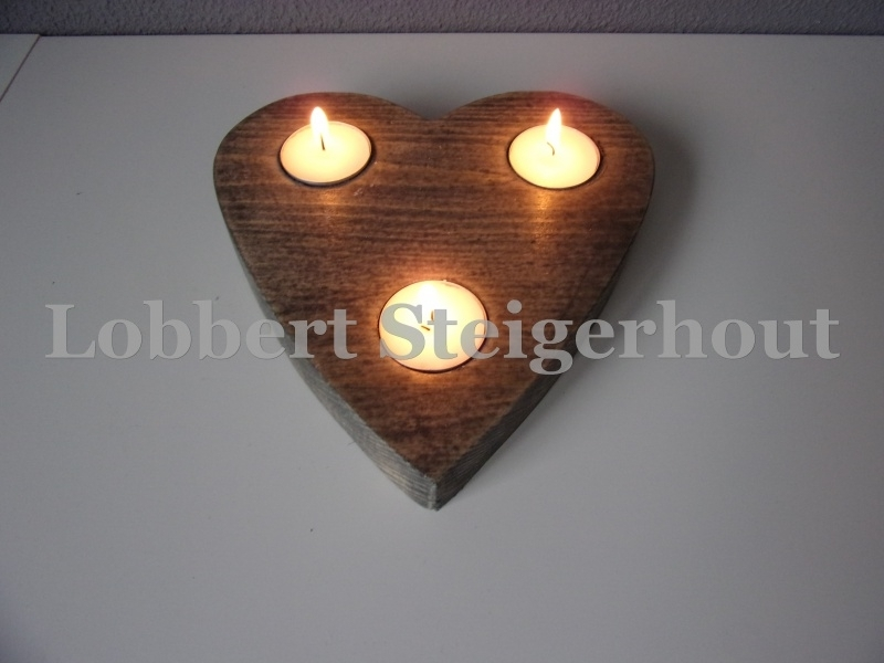 Steigerhouten waxinelichthouder hart