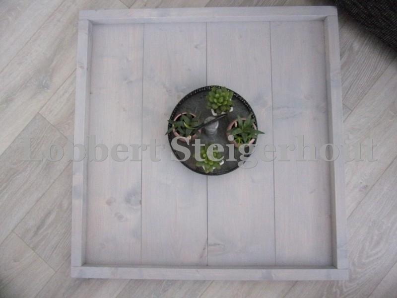 Steigerhouten Dienblad 80 x 80 cm, 2 kleuren beits