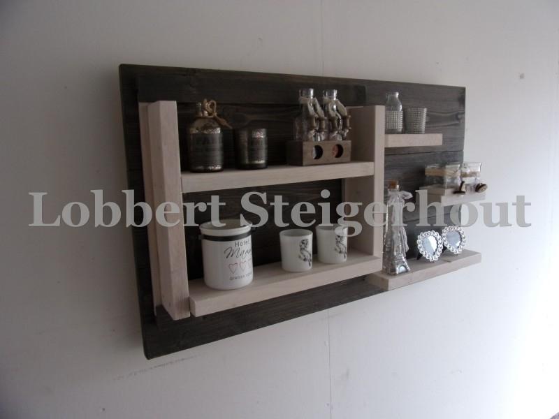 Steigerhouten wandbord met verwisselbare element Pronkrek
