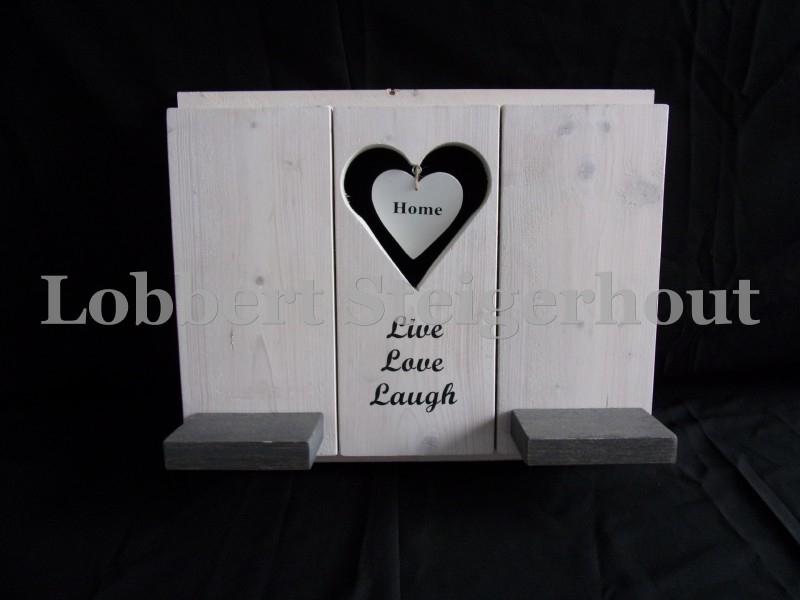 Steigerhouten verwisselbare element met tekst, hart en schapjes, 2 kleuren beits