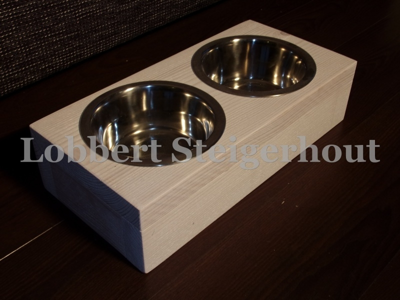 Steigerhouten Honden/katten water en voerbak