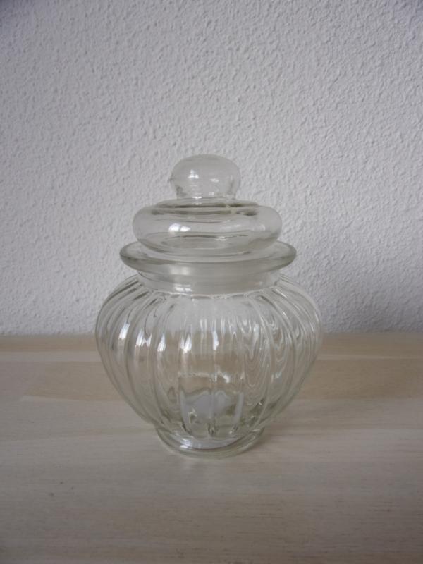 Leuk glazen voorraad/snoep potje met dekseltje bol