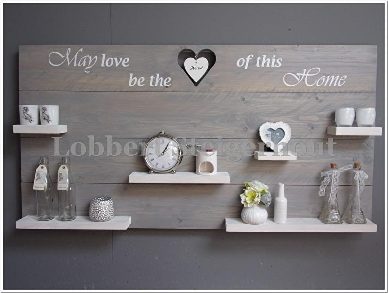 Nieuw!! Steigerhouten wandbord May love be the heart of this home, 150 x 80 cm met hangend hart en 2 kleuren beits