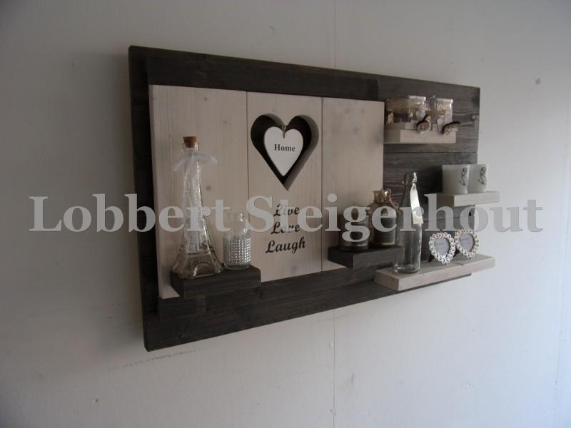 Steigerhouten wandbord met verwisselbare element wandbordje tekst, hart en schapjes