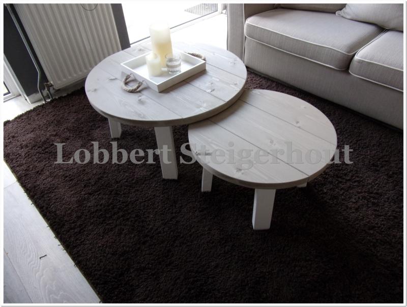 Leuke Salon Tafel.Nieuw 2 Leuke Ronde Steigerhouten Salontafels Als Set