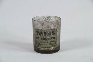 Theelichthouder Glas met print Crackle
