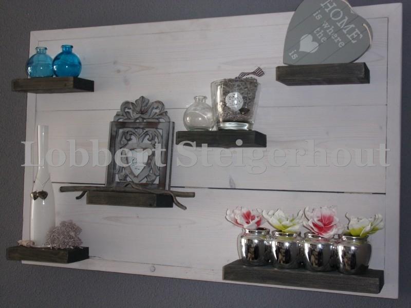 Steigerhouten Wandbord met lijst 2 kleuren 100 x 66 cm