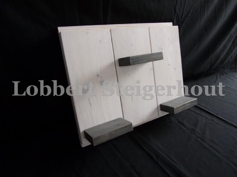 Steigerhouten wandbord met verwisselbare element wandbordje, 3 schapjes