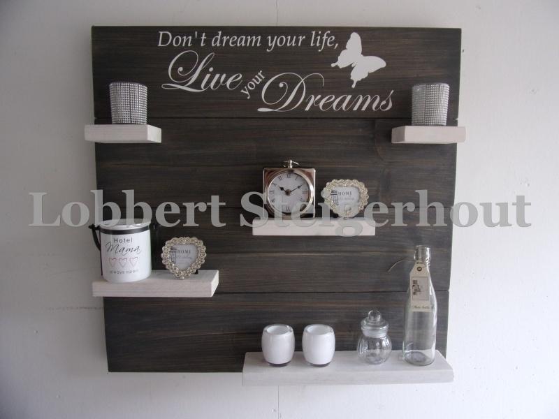 Steigerhouten wandbord Don't dream your life, 2 kleuren